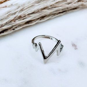 5 for $25 Silver Color Heart Beat Wave Wire Ring